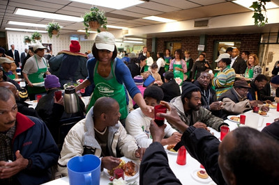 In honor of Martin Luther King Day, First Lady Michelle Obama serves lunch in the dining room at So Others Might Eat, a soup kitchen in Washington January 18, 2010. (Official White House Photo by Chuck Kennedy)