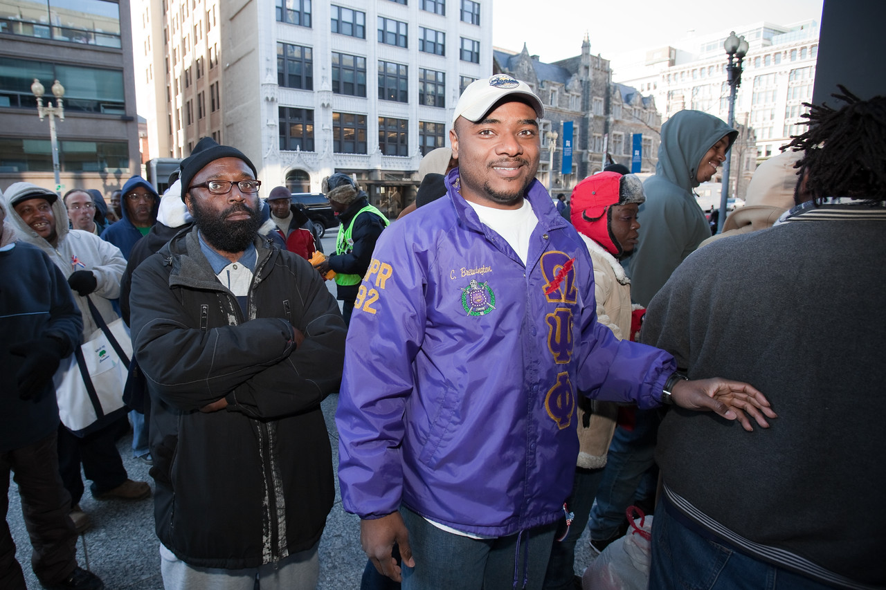 MLK Day, January 18, 2010: Members of Omega Psi Phi fraternity were among the hundreds of volunteers who served in a variety of projects at the Martin Luther King, Jr. Memorial Library.