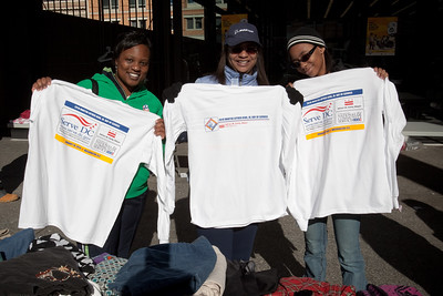 MLK Day, January 18, 2010: Volunteers show off Serve DC T-shirts at the Martin Luther King, Jr. Memorial Library.