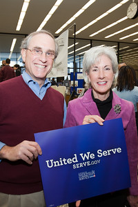 MLK Day, January 18, 2010: Stan Soloway, left, a member of the Board of Directors of the Corporation for National and Community Service, and Secretary of Health and Human Services Kathleen Sebelius served at the Martin Luther King, Jr. Memorial Library. Serve DC sponsored several activities at the library, including an H1N1 vaccine clinic, where Secretary Sebelius spoke.