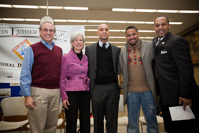 MLK Day, January 18, 2010: Gathering at the Martin Luther King, Jr. Memorial Library to kick off the day of service were, from left, Stan Soloway, member of the Board of Directors of the Corporation for National and Community Service; Health and Human Services Secretary Kathleen Sibelius; Washington, DC, Mayor Adrian Fenty; Gospel singer Byron Cage; and Washington, DC, Councilmember Harry Thomas.