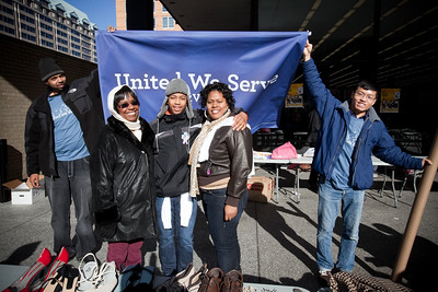 MLK Day, January 18, 2010: Volunteers at the Martin Luther King, Jr. Memorial Library are united in service under the United We Serve banner.
