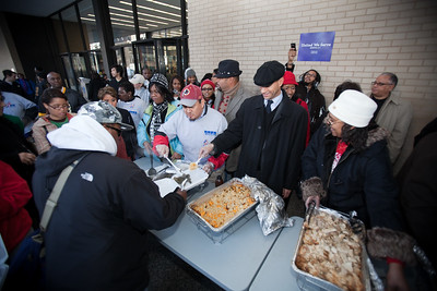 MLK Day, January 18, 2010: Washington, DC, Mayor Adrian Fenty and hundreds of other volunteers gathered at Martin Luther King, Jr. Memorial to serve meals to homeless people and participate in other service projects.