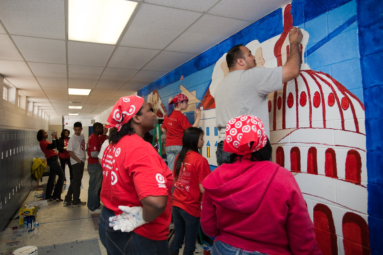 MLK Day, January 18, 2010: At TC Williams High School's Minnie Howard campus, volunteers painted education-themed murals in the halls and classrooms.