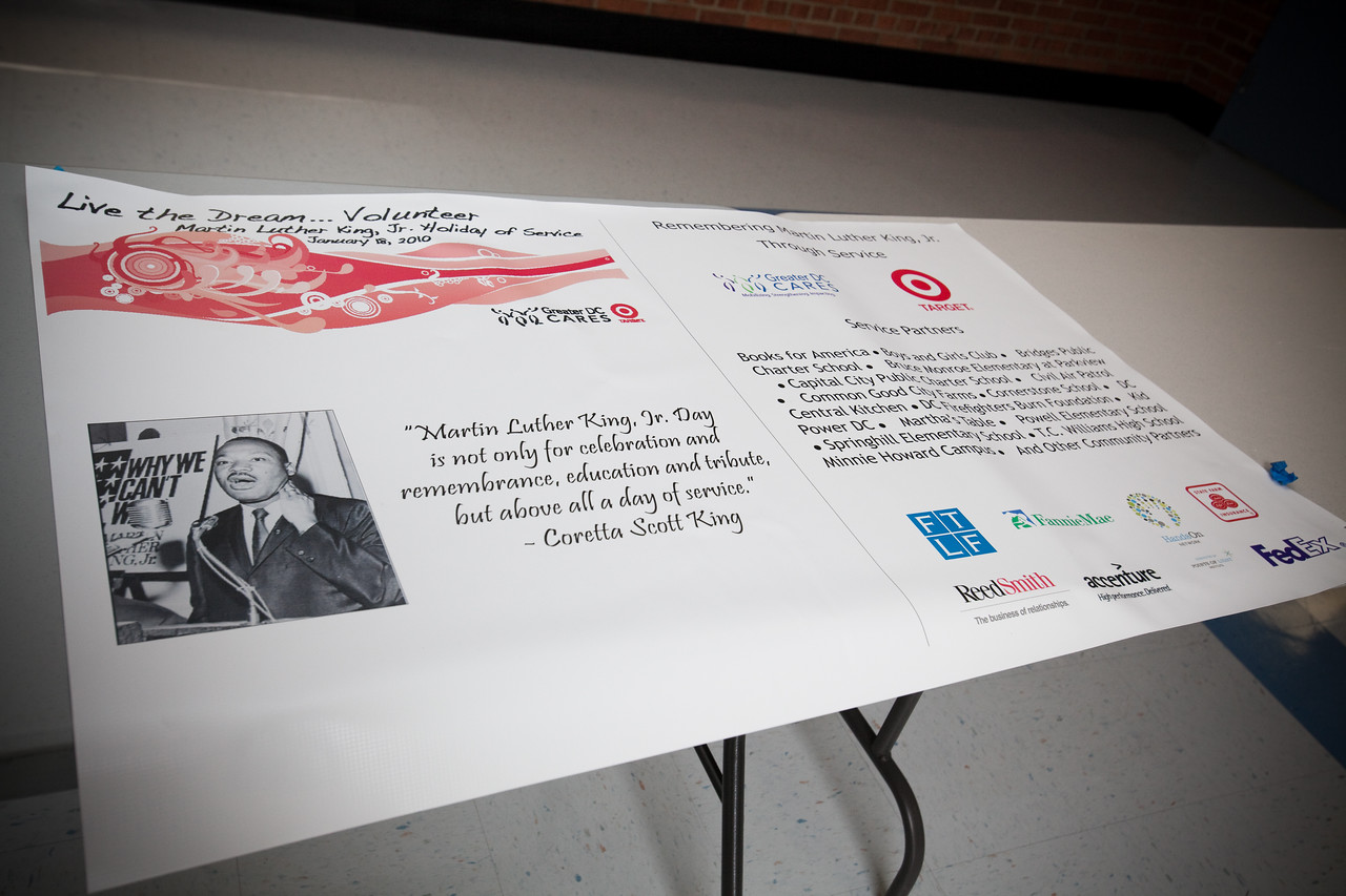 MLK Day, January 18, 2010. A poster on display at TC Williams High School, Minnie Howard campus, displays a quote about Dr. King from his wife, Coretta Scott King.