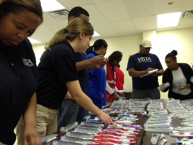 The AmeriCorps VISTA program at Delta State University's Center for Community and Economic Development in Cleveland, MS joined the American Red Cross Northwest Mississippi Office, Gulf Coast Veterans Advocacy Council, Inc., and service providers to prepare 175 personal hygiene bags for the homeless on MLK Day 2014. These bags will be delivered to homeless individuals and homeless veterans during the National Point in Time Count of the Homeless at the end of January.