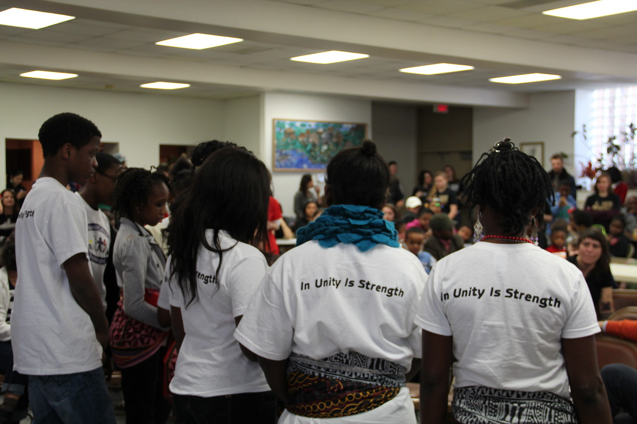 """In unity is strength."" Young volunteers from the Renaissance Youth Center perform on MLK Day 2014. Corporation for National and Community Service Photo."