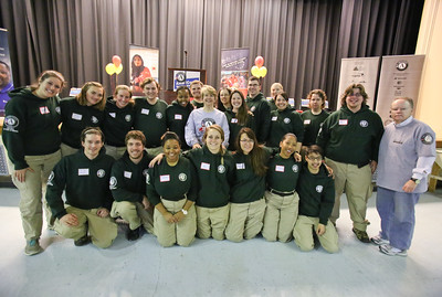 CNCS CEO Wendy Spencer and Director of AmeriCorps NCCC, Kate Raftery alongside NCCC members at Coolidge HS in Washington, D.C. MLK Day 2014. Corporation for National and Community Service Photo.
