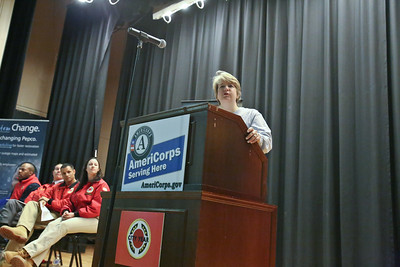 CNCS CEO Wendy Spencer speaks at Coolidge HS in Washington, D.C. on MLK Day before the service event. Corporation for National and Community Service Photo.