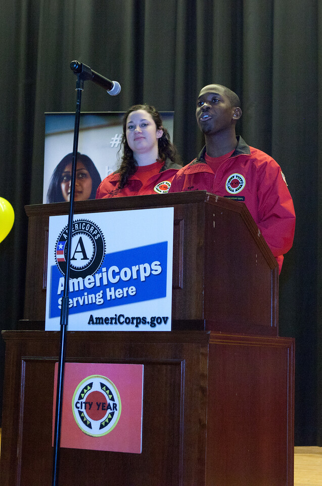 City Year AmeriCorps members speak to volunteers at Coolidge HS in Washington, D.C. before the service event for MLK Day 2014. Corporation for National and Community Service Photo.