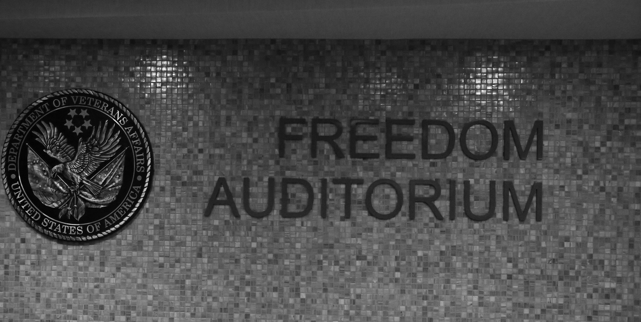 Freedom auditorium at the Department of Veterans Affairs in Washington, D.C. before the service event at the VA hospital during MLK Day 2014. Corporation for National and Community Service Photo.