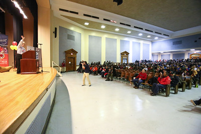 CNCS CEO Wendy Spencer speaks to the crowd at Coolidge HS in Washington, D.C. before the service event on MLK Day 2014. Corporation for National and Community Service Photo.