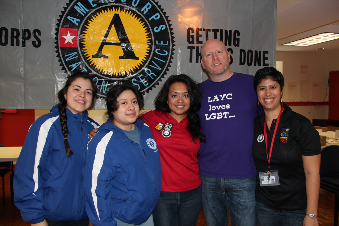 AmeriCorps members and a supporter of the LGBT community at the Latin American Youth Center in Washington, D.C. on MLK Day 2014. Corporation for National and Community Service Photo.