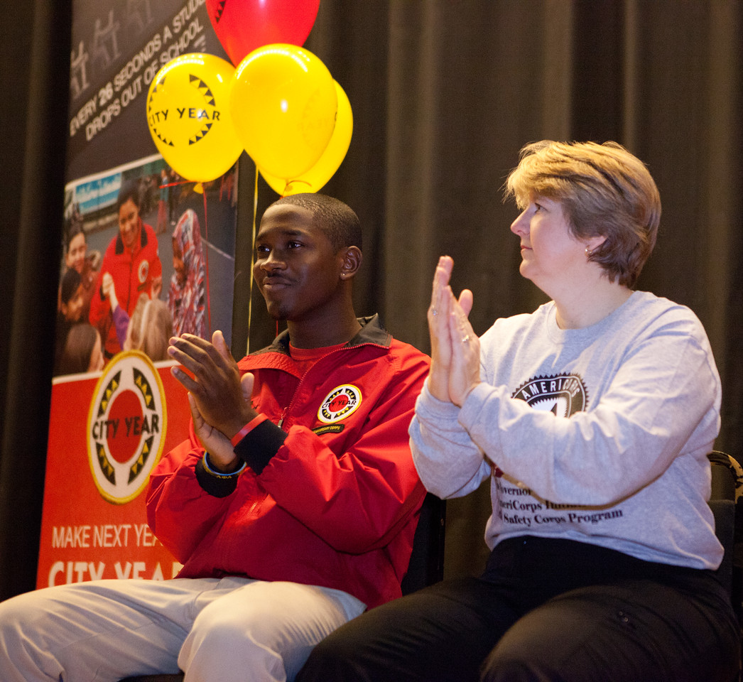 CNCS CEO Wendy Spencer and a City Year AmeriCorps member at Coolidge HS in Washington, D.C. during MLK Day 2014. Corporation for National and Community Service Photo.
