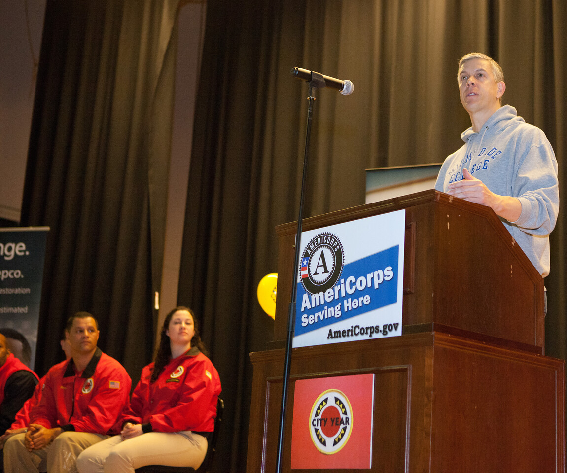 Secretary of Education Arne Duncan speaks at Coolidge HS in Washington, D.C. during MLK Day 2014. Corporation for National and Community Service Photo.