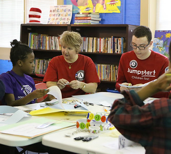 CNCS CEO Wendy Spencer serves at a service project at a Boys & Girls Club of Greater Washington, alongside Jumpstart AmeriCorps members to celebrate MLK Day of Service. Corporation for National and Community Service photo.