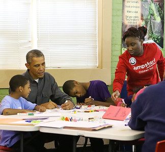 President Barack Obama participates in a service project at a Boys & Girls Club of Greater Washington, alongside Jumpstart AmeriCorps members to celebrate MLK Day of Service. Corporation for National and Community Service photo.