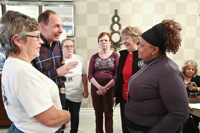 CNCS CEO Wendy Spencer and Secretary of Veterans Affairs Robert A. McDonald speak before serving on MLK Day of service at the Fisher House located at the Veterans Medical Center in Washington, D.C. Corporation for National and Community Service photo.