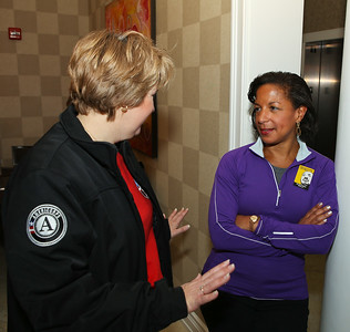 CNCS CEO Wendy Spencer and United States National Security Advisor Susan Rice speak at the Fisher House located at the Veterans Medical Center in Washington, D.C. before serving on MLK Day of service. Corporation for National and Community Service photo.