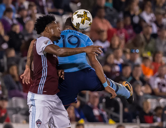 The MLS Western Conference soccer game between the Colorado Rapids and New York City FC at Dick's Sporting Goods Park in Commerce City, Colorado on September 16, 2017.  Final score of the game was the Colorado Rapids -  1  and Sporting NYC FC - 1.