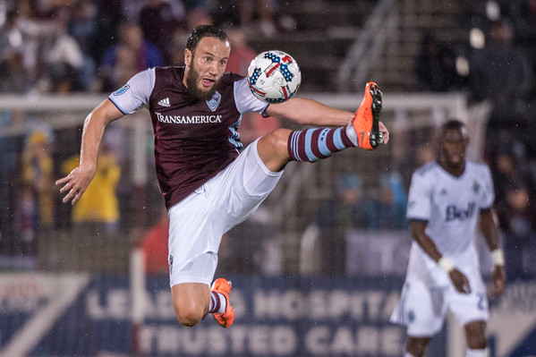 The MLS Western Conference soccer game between the Colorado Rapids and the Vancouver Whitecaps FC at Dick's Sporting Goods Park in Commerce City, Colorado on August 5, 2017.  Final score of the game was the Colorado Rapids - 1 and the Vancouver Whitecaps - 1.