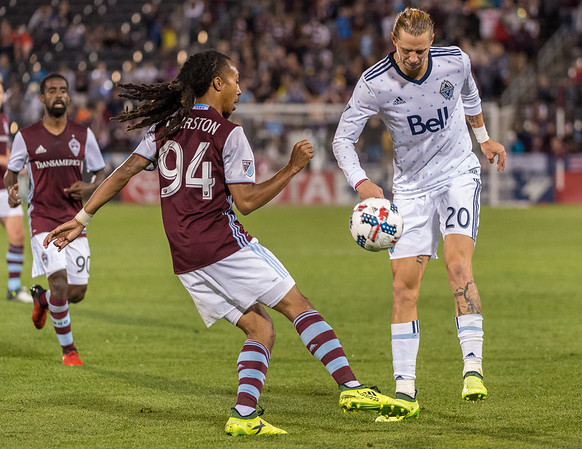 The MLS Western Conference soccer game between the Colorado Rapids and the Vancouver Whitecaps FC at Dick's Sporting Goods Park in Commerce City, Colorado on August 5, 2017.  Final score of the game was the Colorado Rapids - 2 and the Vancouver Whitecaps - 2.