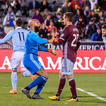 The MLS Western Conference soccer game between the Colorado Rapids and Sporting Kansas City at Dick's Sporting Goods Park in Commerce City, Colorado.   Final score of the game was the Colorado Rapids - 2 and Sporting KC - 2.