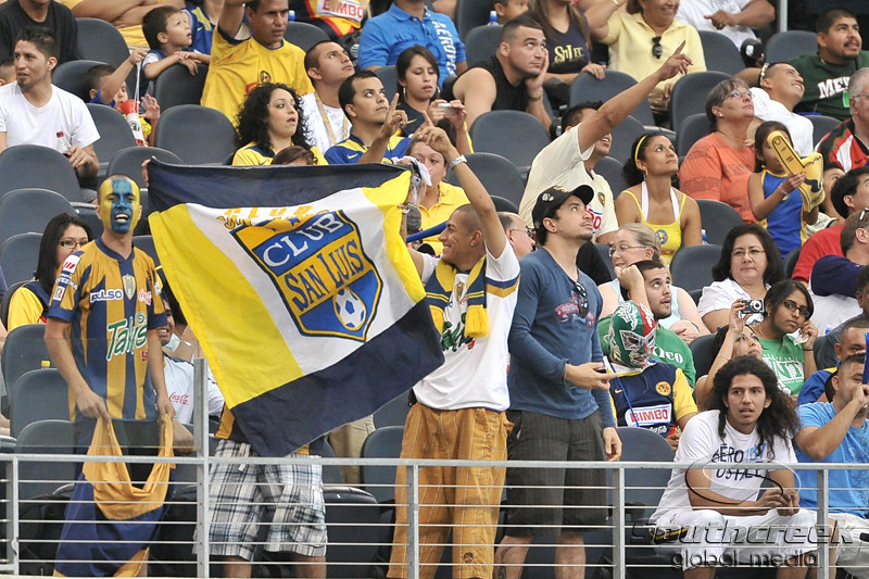 17 July 2010:  <br /> San Luis fans celebrate after a goal during the MLS Club America vs. San Luis FC game at Cowboys Stadium in Arlington, TX. Mandatory Credit: Manny Flores/Southcreek Global