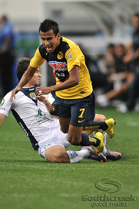 17 July 2010:   Club America #7 Sandoval Alonso gets tripped up during the MLS Club America vs. San Luis FC game at Cowboys Stadium in Arlington, TX. Mandatory Credit: Manny Flores/Southcreek Global