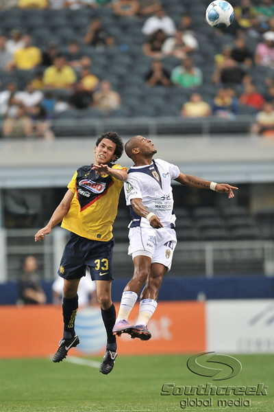 17 July 2010:  <br /> Club America #33 Trevino Patricio and San Luis #10 Wilmer Agurra go up for a header during the MLS Club America vs. San Luis FC game at Cowboys Stadium in Arlington, TX. Mandatory Credit: Manny Flores/Southcreek Global
