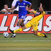 July 26 2009 World Football Challenge - Chelsea FC v Club America:<br /> #15 Guillermo Cerda of CA defends the ball at the Cowboys Stadium in Arlington, Texas.<br /> Chelsa FC beats Club America 2-0.