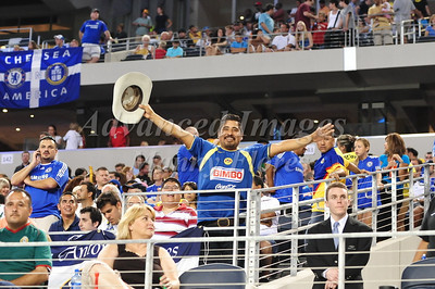 July 26 2009 World Football Challenge - Chelsea FC v Club America:  CA fan in action at the Cowboys Stadium in Arlington, Texas. Chelsea FC beats Club America 2-0.