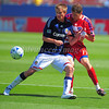 29, March 2009:  <br /> Chivas USA middle Jesse Marsch (Cap) #15 & FC Dallas defender Aaron Pitchkolan #17 in action during the soccer game between FC Dallas & Chivas USA at the Pizza Hut Stadium in Frisco,TX. Chivas USA  beat FC Dallas 2-0.<br /> Manny Flores/Icon SMI