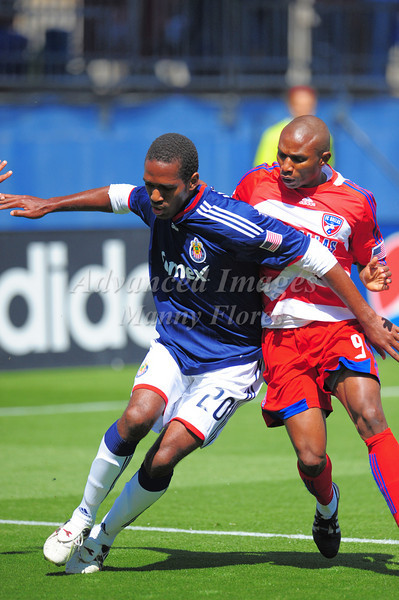 29, March 2009:  <br /> FC Dallas forward Jeff Cunningham #9 &<br /> Chivas USA middle Atiba Harris #20<br /> in action during the soccer game between FC Dallas & Chivas USA at the Pizza Hut Stadium in Frisco,TX. Chivas USA  beat FC Dallas 2-0.<br /> Manny Flores/Icon SMI