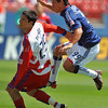 29, March 2009:  <br /> FC Dallas defender Steve Purdy #25 &<br /> Chivas USA Forward Eduardo Lillingston #99 in action during the soccer game between FC Dallas & Chivas USA at the Pizza Hut Stadium in Frisco,TX. Chivas USA  beat FC Dallas 2-0.<br /> Manny Flores/Icon SMI