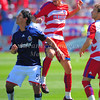 29, March 2009:  <br /> Chivas USA Forward Eduardo Lillingston #99 & FC Dallas defender Steve Purdy #25 in action during the soccer game between FC Dallas & Chivas USA at the Pizza Hut Stadium in Frisco,TX. Chivas USA  beat FC Dallas 2-0.<br /> Manny Flores/Icon SMI