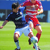 29, March 2009:  <br /> Chivas USA Forward Eduardo Lillingston #99 & FC Dallas defender Aaron Pitchkolan #17  in action during the soccer game between FC Dallas & Chivas USA at the Pizza Hut Stadium in Frisco,TX.<br /> Chivas USA  beat FC Dallas 2-0.<br /> Manny Flores/Icon SMI