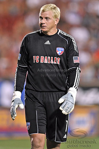 17 July 2010:   FC Dallas #1 GK Kevin Hartman in action during the game between Real Salt Lake and FC Dallas at the Pizza Hut Stadium in Frisco, TX. Mandatory Credit: Manny Flores/Southcreek Global