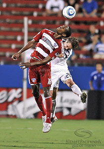 17 July 2010:   FC Dallas #16 F/M Atiba Harris fights for position for the header against Real Salt Lake #20 M Ned Grabavoy during the game between Real Salt Lake and FC Dallas at the Pizza Hut Stadium in Frisco, TX. Mandatory Credit: Manny Flores/Southcreek Global