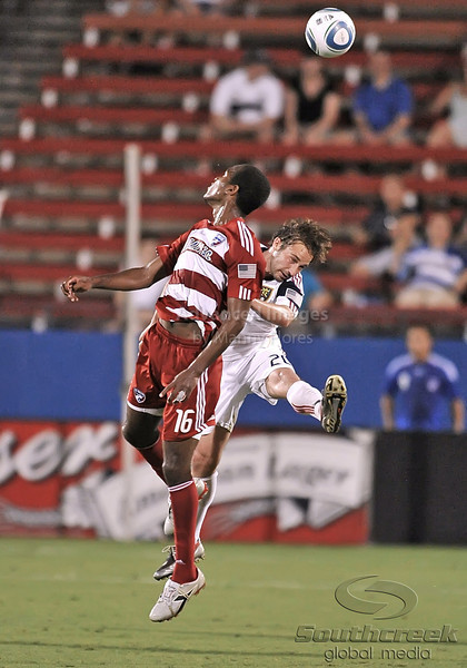 17 July 2010:  <br /> FC Dallas #16 F/M Atiba Harris fights for position for the header against Real Salt Lake #20 M Ned Grabavoy during the game between Real Salt Lake and FC Dallas at the Pizza Hut Stadium in Frisco, TX. Mandatory Credit: Manny Flores/Southcreek Global