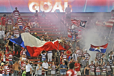 17 July 2010:   FC Dallas fans celebrate a goal during the game between Real Salt Lake and FC Dallas at the Pizza Hut Stadium in Frisco, TX. Mandatory Credit: Manny Flores/Southcreek Global