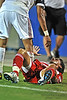 17 July 2010:  <br /> FC Dallas #8 M Bruno Guards refuses help from opposing player after being tripped up during the game between Real Salt Lake and FC Dallas at the Pizza Hut Stadium in Frisco, TX. Mandatory Credit: Manny Flores/Southcreek Global
