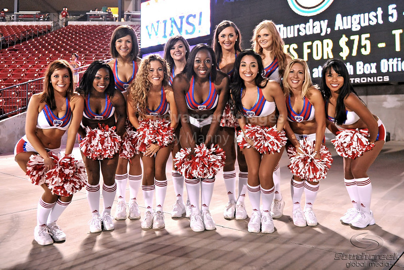 17 July 2010:  <br /> FC Dallas Cheerleaders pose for a team photo after the game between Real Salt Lake and FC Dallas at the Pizza Hut Stadium in Frisco, TX. Mandatory Credit: Manny Flores/Southcreek Global