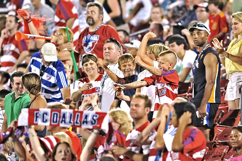 17 July 2010:  <br /> FC Dallas fans celebrate a goal<br /> during the game between Real Salt Lake and FC Dallas at the Pizza Hut Stadium in Frisco, TX. Mandatory Credit: Manny Flores/Southcreek Global