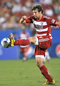 17 July 2010:   FC Dallas #4 D Heath Pearce kicks the ball during the game between Real Salt Lake and FC Dallas at the Pizza Hut Stadium in Frisco, TX. Mandatory Credit: Manny Flores/Southcreek Global