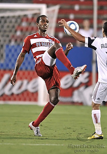 17 July 2010:   FC Dallas #16 F/M Atiba Harris fights for the ball during the game between Real Salt Lake and FC Dallas at the Pizza Hut Stadium in Frisco, TX. Mandatory Credit: Manny Flores/Southcreek Global