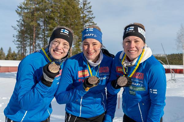 Mirka Suutari, Milka Reponen, Salla Koskela. MM-pronssia.