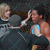 MARLQUES WHITE gets attended to between rounds during the 1st  match of the Mixed Martial Arts match at the Fight Hard MMA held at the Family Arena in St. Charles MO.