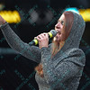The National Anthem is sung during the Mixed Martial Arts match at the Fight Hard MMA held at the Family Arena in St. Charles MO.