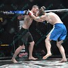 During the 6th match of the Mixed Martial Arts match between IRFAN MULABITINOVIC (blue tape) and JAMES GREEN (red tape) at the Fight Hard MMA held at the Family Arena in St. Charles MO.